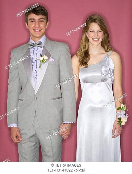 Couple dressed up for their prom