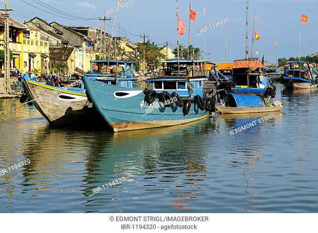 Fishing boats in the harbor of Hoi An, UNESCO World Heritage Site, Vietnam, Asia