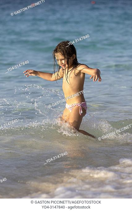 Playing in the water, Cabbage Beach, New Providence Island, Paradise Island, Bahamas