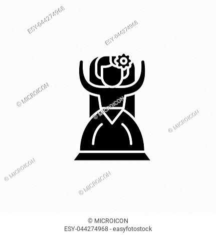 Spanish woman black icon concept. Spanish woman flat vector website sign, symbol, illustration