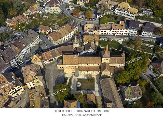 Romainmoitier with the church of the former Cluniac Romainmotier Abbey in the town center, Romainmôtier-Envy, canton of Vaud, Switzerland