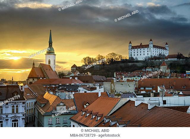 Sunset skyline of Bratislava, Slovakia