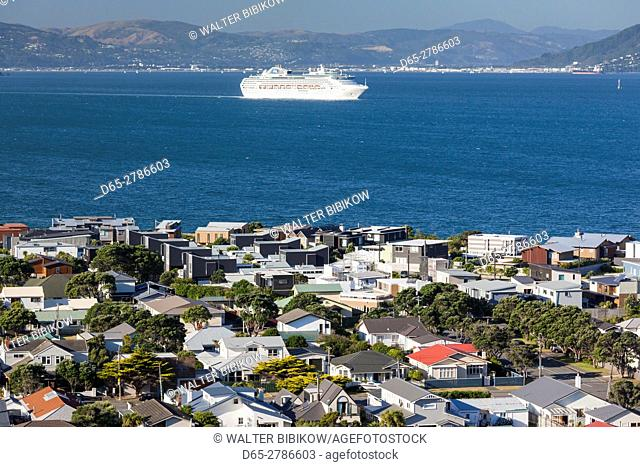 New Zealand, North Island, Wellington, elevated view of Seatoun from the Pass of Branda with cruiseship