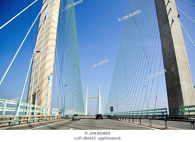 England, Gloucestershire, Second Severn Crossing, Crossing the second Severn crossing on a sunny day
