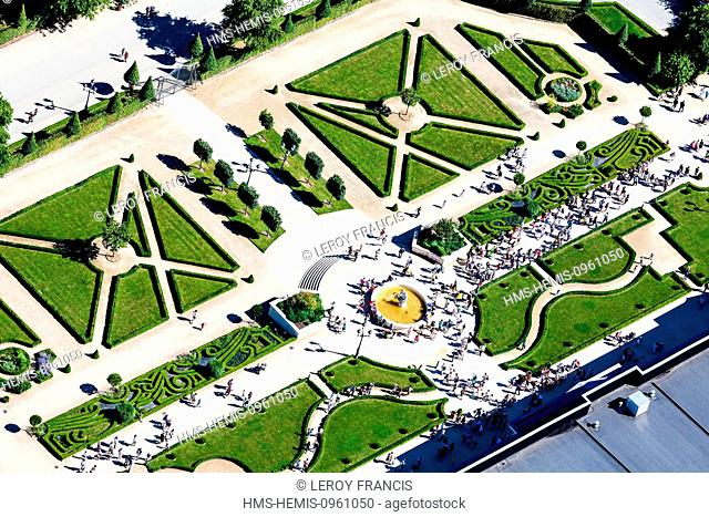 France, Vendee, Les Epesses, Le Puy du Fou, the gardens (aerial view)
