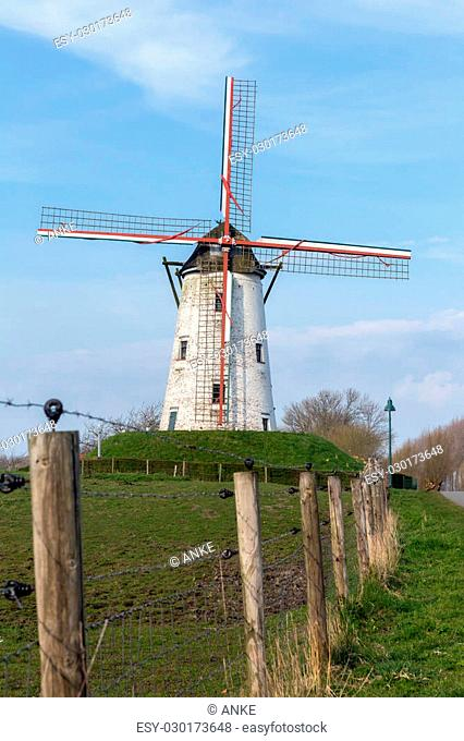 Windmill of Damme, one of the most beautiful villages in Flanders Belgium, near Bruges, along the canal Damse Vaart