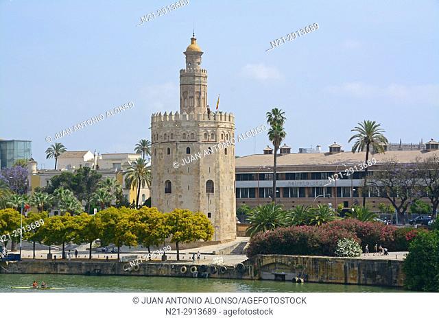 Torre del Oro on the River Guadalquivir. Seville, Andalucia, Spain, Europe