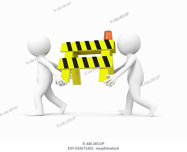 Two 3d people carrying the roadblocks