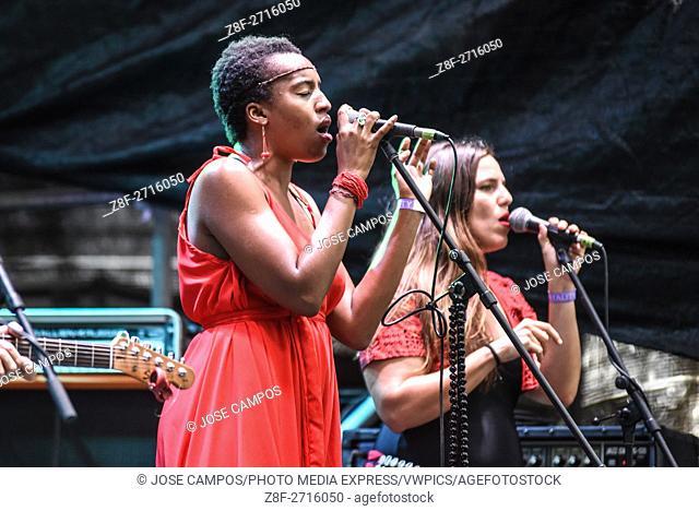 Un Rojo Reggae Band, from Costa Rica, during their show at Coca Cola Fest concert. Estadio Nacional, San José, Costa Rica. August 27th, 2016