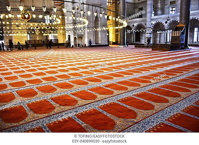 ISTANBUL, TURKEY - APR 19, 2017: Interior of Suleymaniye Mosque in Istanbul, Turkey