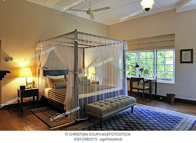 bedroom of the Summerville Bungalow of the luxury Ceylon Tea Trails resort, Sri Lanka, Indian subcontinent, South Asia