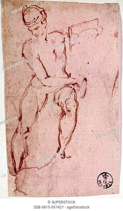Sketch of a Man by Michelangelo Buonarroti, drawing, 1475-1564, Italy, Florence, Galleria degli Uffizi