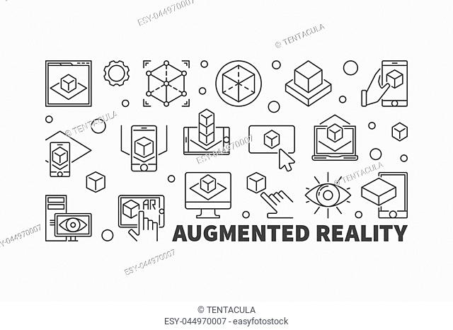 Augmented reality vector horizontal illustration made with AR thin line icons on white background