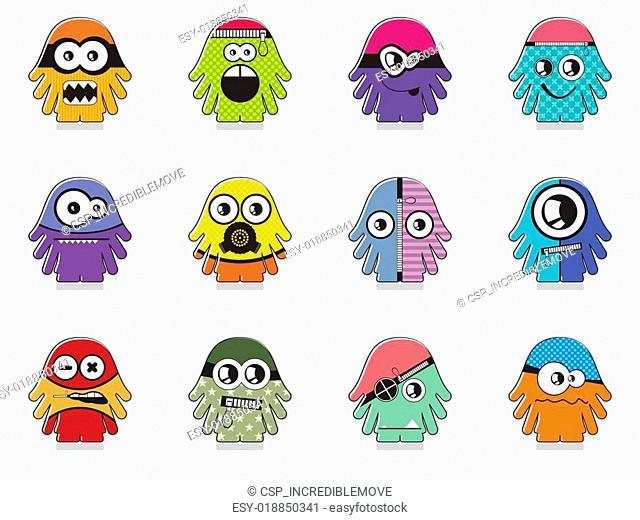 Set of twelve monsters