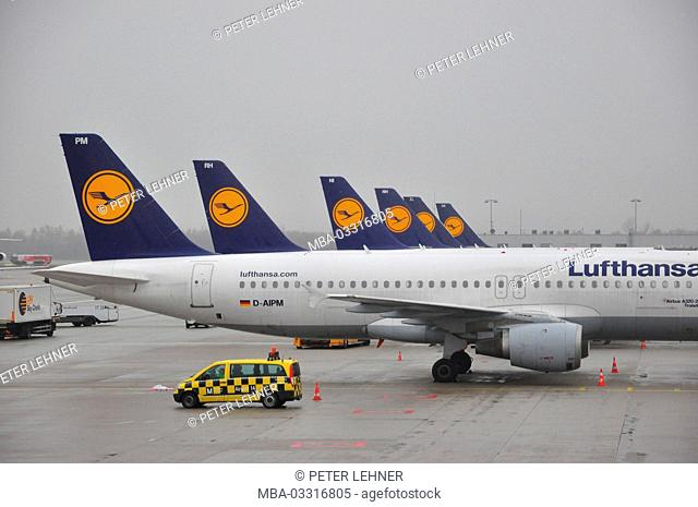Civil aviation, air liners, runway, rear, park position
