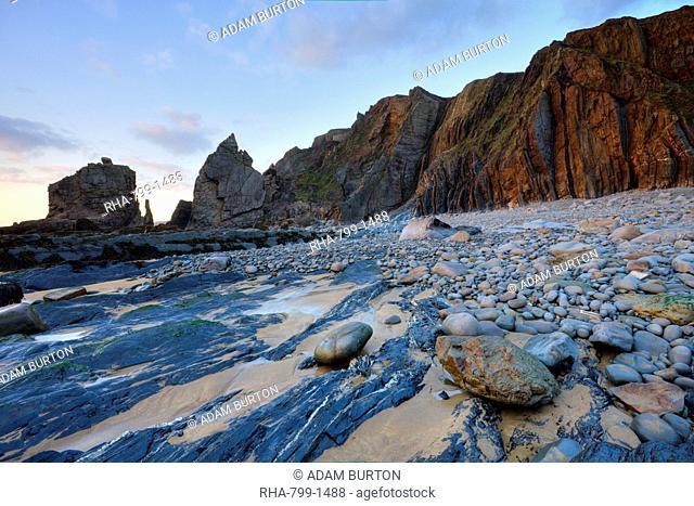 Rocky coastline at Sandymouth, Cornwall, England, United Kingdom, Europe
