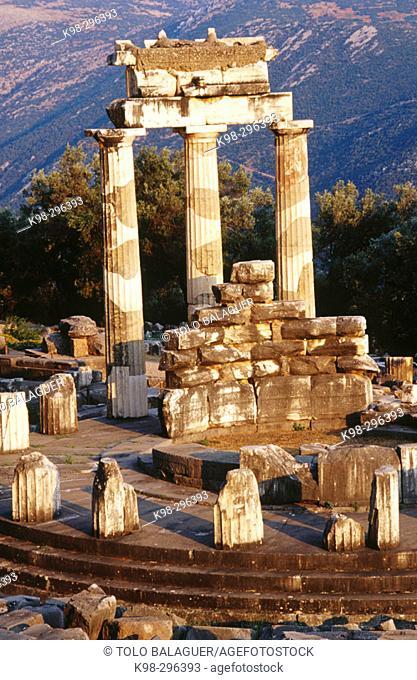 Tholos Temple in Sanctuary of Athena Pronaia. Delphi. Greece