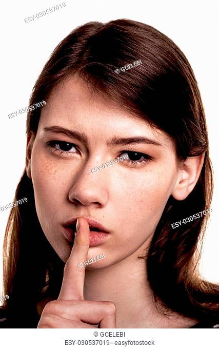 Shhhhh Woman! Finger On Lips. Silent - Silence Stock Image