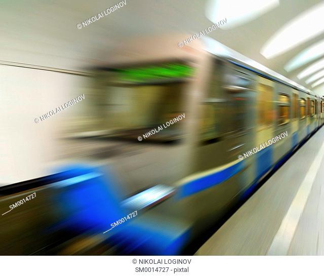 Diagonal blue motion blur metro train background hd