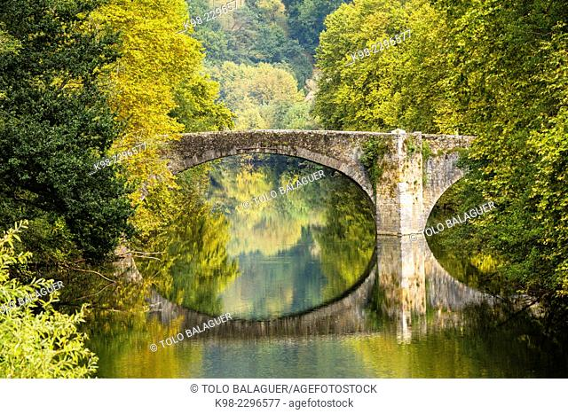 Spain, Navarre, Vera de Bidasoa, Arch bridge on Bidasoa river