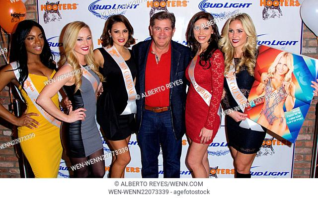 Hooters Manhattan relocation party with the 2015 Hooters Swimsuit Calendar Girls in New York City Featuring: Ed Droste Where: New York City, New York