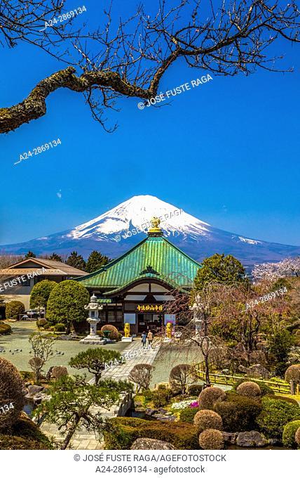 Japan, Gotemba City, temple and Mount Fuji