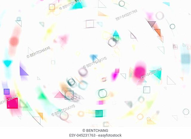 Abstract motion blur, soft blend, random circle, square, rectangle & triangle shape art, digital generative on white background for web page, graphic design