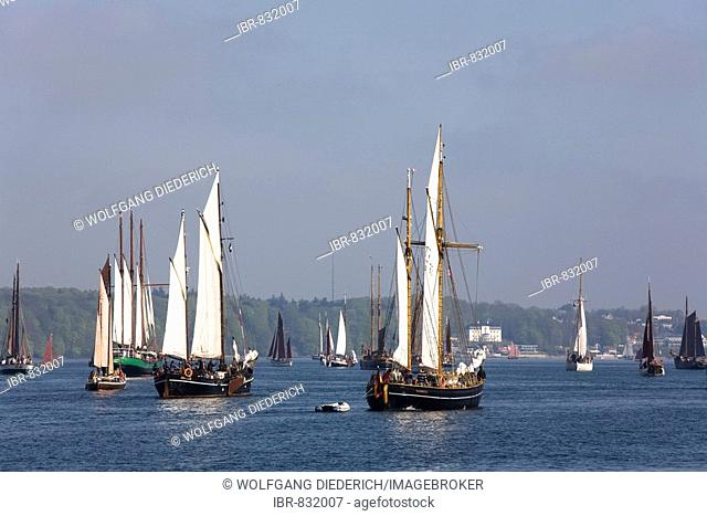 Traditional sailing boats going to the start of the Rum regatta 2008 in the inner fjord, Flensburg, Schleswig-Holstein, Germany, Europe