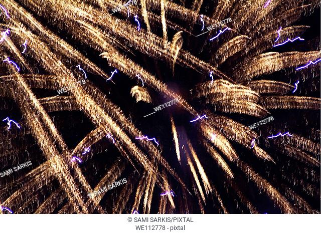 Fireworks light up the sky while celebrating Bastille Day, Marseille, France
