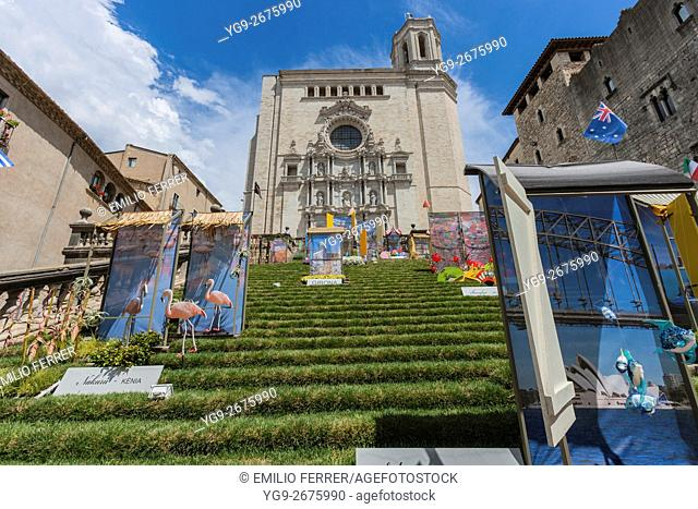 CATHEDRAL AND FLORAL ART EXHIBITION IN GIRONA. CATALONIA. SPAIN