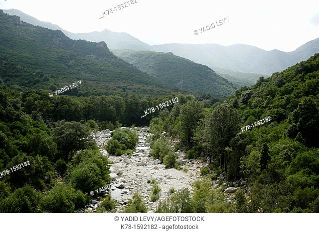Landscape of the Supramonte mountain range seen along the trek to Gola Su Gorruppu canyon, Sardinia, Italy