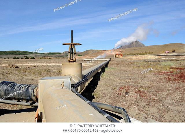 Geothermal power and heating plant, Bjarnflag, Myvatn area, Iceland, July