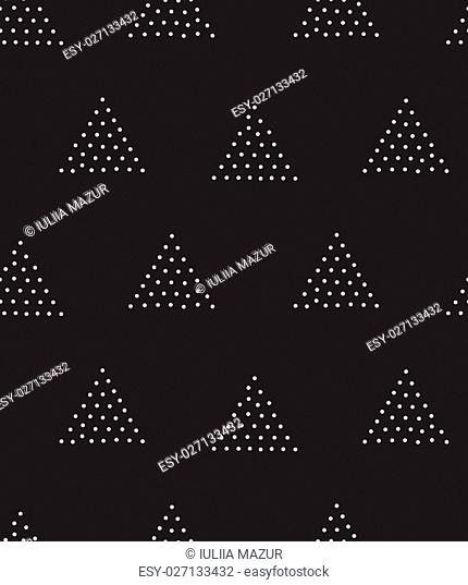 Vector geometric seamless pattern. Repeating abstract triangle gradation in black and white dots. Modern pointillism design