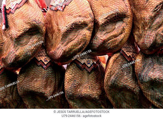 Hams in cellar
