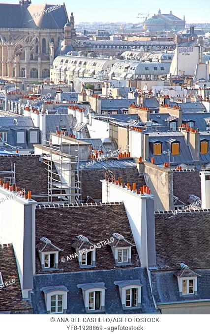 Rooftops and Notre Dame church from the Pompidou Centre, Paris, France