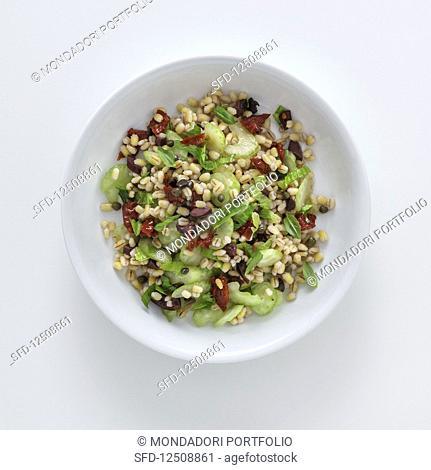 Pearl barley salad with celery and kalamata olives