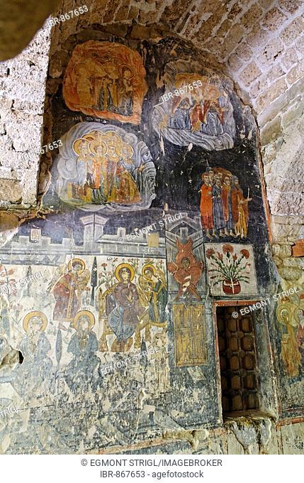 Mediaeval fresco in Krushove Church near Voskopoje, Albania, Europe