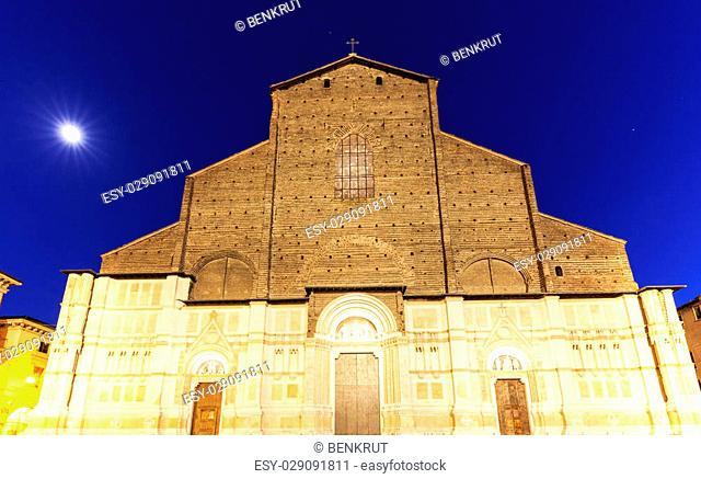 San Petronio Basilica on Piazza Maggiore in Bologna. Bologna, Emilia-Romagna, Italy