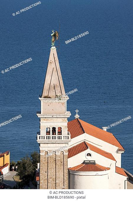 Aerial view of tower in Piran cityscape, Adriatic Sea, Slovenia