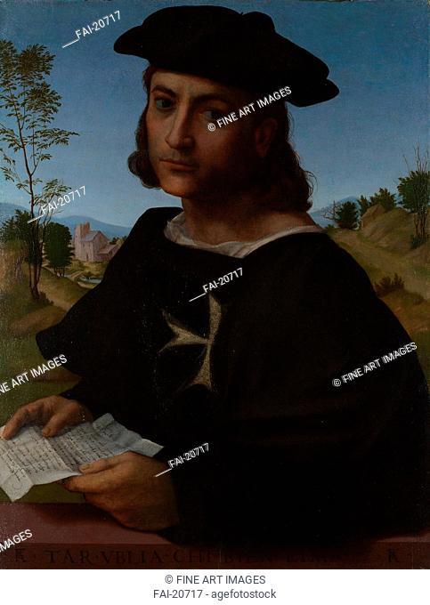 Portrait of a Knight of Rhodes. Franciabigio (1482-1525). Oil on wood. Renaissance. 1514. Italy. National Gallery, London. 60,3x45,7. Portrait
