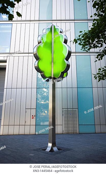 Artificial tree, More London, Development Office Buildings, Southwark, London, England, UK
