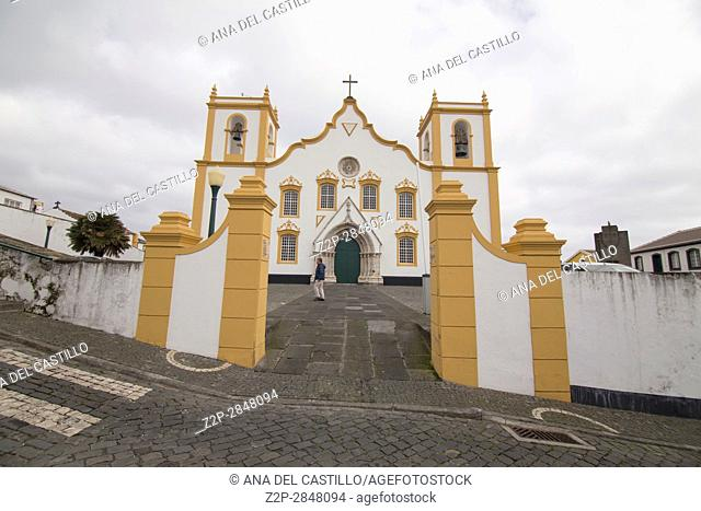 Traditional Azores church of Santa Cruz. Praia da Vitoria in Terceira island on January 9, 2017 Portugal