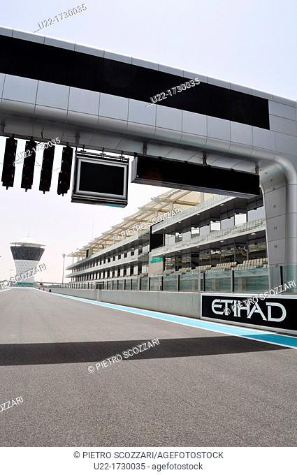 Abu Dhabi, United Arab Emirates: the Formula One Yas Marina Circuit, at Yas Island