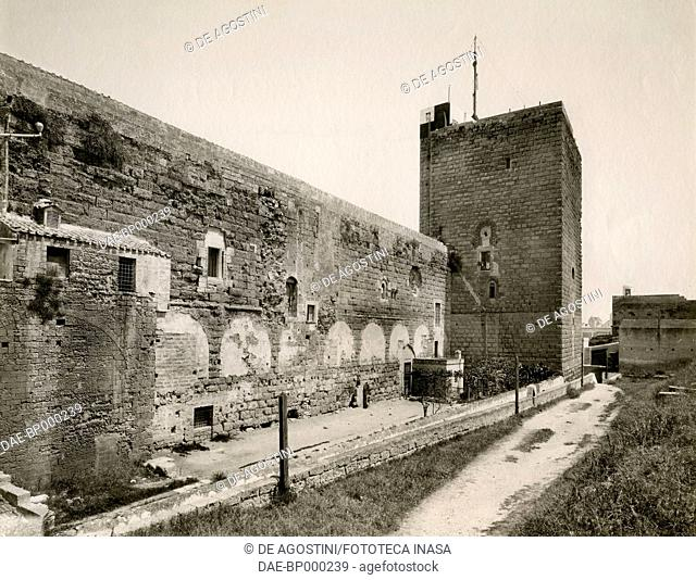 Inner walls and Semaforo tower, Svevo castle, Bari, Apulia, Italy, photograph from Istituto Italiano d'Arti Grafiche, Bergamo, 1907-1909