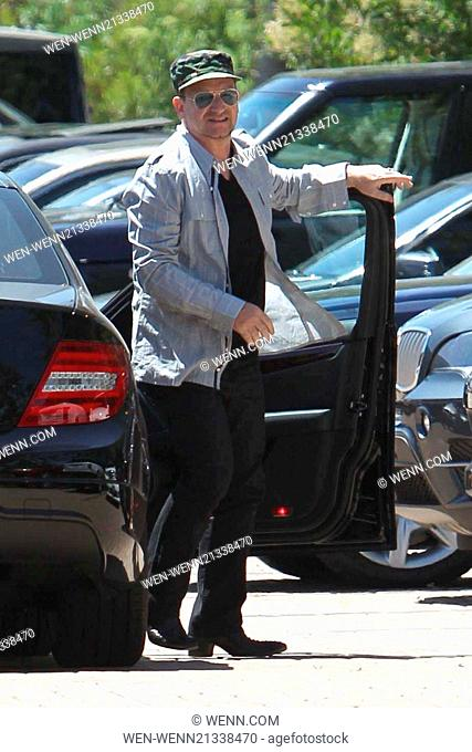 Bono arrives at Cafe Habana to have a joint birthday lunch with George Clooney and his fiancé Amal Alamuddin Featuring: Bono Where: Los Angeles, California