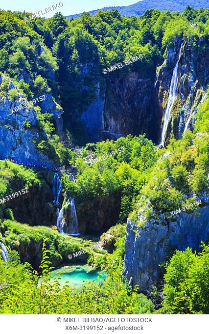 The large waterfall. Plitvice Lakes National Park. Croatia, Europe