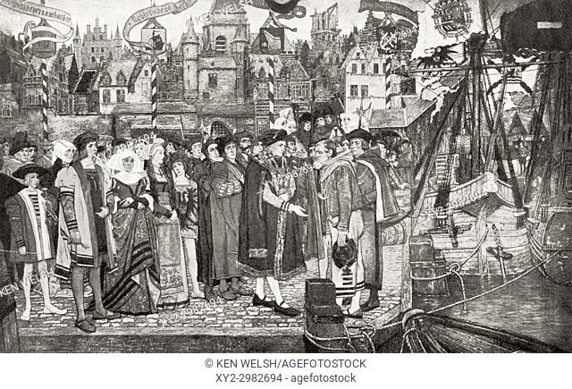 The Burgomaster of Antwerp, Belgium welcoming ships who had arrived in the city to trade, 1508. From Hutchinson's History of the Nations, published 1915