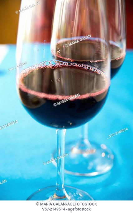 Two glasses of red wine. Close view