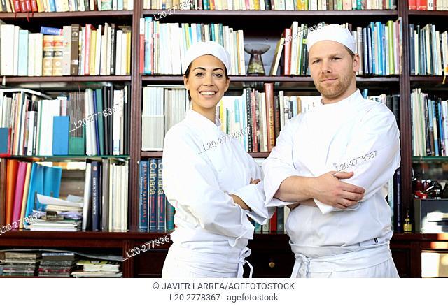 Chefs in the library, Cooks in cooking school, Cuisine School, Donostia, San Sebastian, Gipuzkoa, Basque Country, Spain, Europe