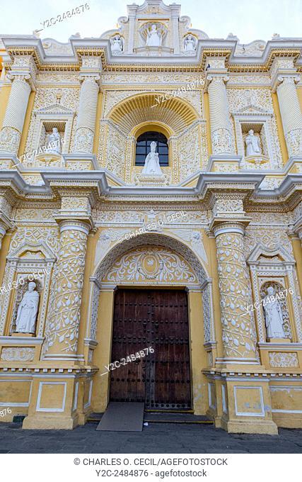 Antigua, Guatemala. Entrance to La Merced Church, completed 1767. Ataurrique Decorative Style. San Pedro Nolasco, founder of the Mercedary Order